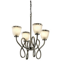Justice Design Veneto Luce Capellini 4-Light Chandelier in Brushed Nickel GLA-8910-56-WTFR-NCKL