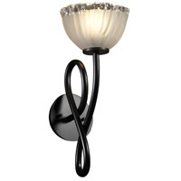 Veneto Luce 1 Light 7 inch Matte Black Wall Sconce Wall Light in White Frosted (Veneto Luce), Bowl with Rippled Rim