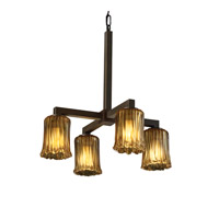 Justice Design GLA-8920-16-AMBR-DBRZ Veneto Luce 4 Light 22 inch Dark Bronze Chandelier Ceiling Light in Amber (Veneto Luce), Cylinder with Rippled Rim photo thumbnail