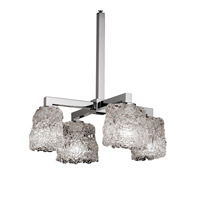 Justice Design Veneto Luce Modular 4-Downlight Chandelier in Polished Chrome GLA-8920-30-LACE-CROM