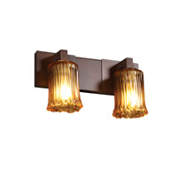 Justice Design Veneto Luce Modular 2-Light Bath Bar in Dark Bronze GLA-8922-16-AMBR-DBRZ