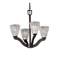Justice Design Veneto Luce Bend 4-Light Chandelier in Dark Bronze GLA-8970-18-LACE-DBRZ