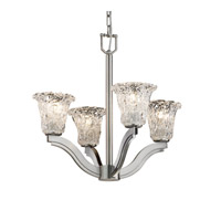 Justice Design Veneto Luce Bend 4-Light Chandelier in Brushed Nickel GLA-8970-20-LACE-NCKL