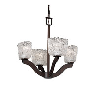 Justice Design Veneto Luce Bend 4-Light Chandelier in Dark Bronze GLA-8970-30-LACE-DBRZ