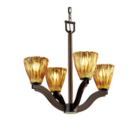 Justice Design Veneto Luce Bend 4-Light Chandelier in Dark Bronze GLA-8970-56-AMBR-DBRZ