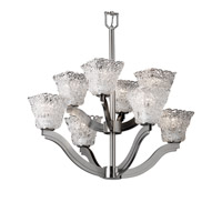 Justice Design Veneto Luce Bend 8-Light 2-Tier Chandelier in Brushed Nickel GLA-8978-40-LACE-NCKL
