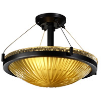 Veneto Luce 3 Light 21 inch Matte Black Semi-Flush Bowl Ceiling Light in Gold with Clear Rim (Veneto Luce), Incandescent
