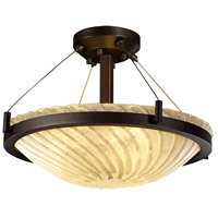 Justice Design GLA-9681-35-WHTW-DBRZ Veneto Luce 3 Light 21 inch Dark Bronze Semi-Flush Bowl Ceiling Light in Whitewash (Veneto Luce) photo thumbnail