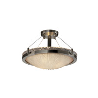Veneto Luce 3 Light 21 inch Brushed Nickel Semi-Flush Bowl Ceiling Light in White Frosted (Veneto Luce), Incandescent