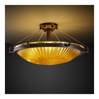 Veneto Luce 6 Light 27 inch Dark Bronze Semi-Flush Bowl Ceiling Light in Gold with Clear Rim (Veneto Luce), Incandescent