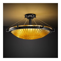 Veneto Luce 6 Light 27 inch Matte Black Semi-Flush Bowl Ceiling Light in Gold with Clear Rim (Veneto Luce), Incandescent