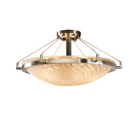 Justice Design GLA-9682-35-WHTW-NCKL Veneto Luce 6 Light 27 inch Brushed Nickel Semi-Flush Bowl Ceiling Light in Whitewash (Veneto Luce) photo thumbnail