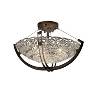 Justice Design GLA-9711-35-GLDC-DBRZ-LED3-3000 Veneto Luce LED 22 inch Dark Bronze Semi-Flush Ceiling Light in 3000 Lm LED, Gold with Clear Rim (Veneto Luce)