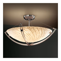 Veneto Luce 3 Light 22 inch Brushed Nickel Semi-Flush Bowl Ceiling Light in Whitewash (Veneto Luce), Incandescent