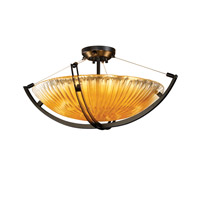 Veneto Luce 6 Light 28 inch Matte Black Semi-Flush Bowl Ceiling Light in Gold with Clear Rim (Veneto Luce), Incandescent