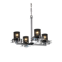 Metropolis 4 Light 25 inch Polished Chrome Chandelier Ceiling Light in Cylinder with Flat Rim