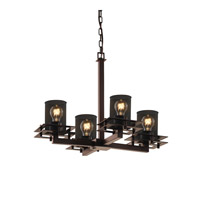 Justice Design Metropolis 4 Light Chandelier in Dark Bronze MSH-8100-10-DBRZ