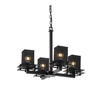 Justice Design Metropolis 4 Light Chandelier in Matte Black MSH-8100-15-MBLK