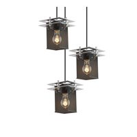 Metropolis 3 Light 7 inch Polished Chrome Pendant Ceiling Light in Square with Flat Rim