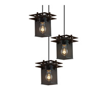 Justice Design Metropolis 3 Light Pendant in Dark Bronze MSH-8166-15-DBRZ-BKCD