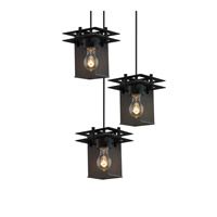 Justice Design Metropolis 3 Light Pendant in Matte Black MSH-8166-15-MBLK-BKCD