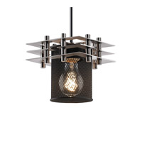 Metropolis 1 Light 7 inch Brushed Nickel Pendant Ceiling Light in Black Cord, Cylinder with Flat Rim