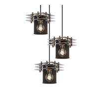 Metropolis 3 Light 7 inch Brushed Nickel Pendant Ceiling Light in Cylinder with Flat Rim