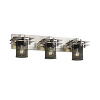Metropolis 3 Light 27 inch Brushed Nickel Bath Light Wall Light in Cylinder with Flat Rim
