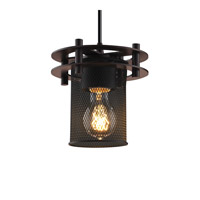 Circa 1 Light 7 inch Dark Bronze Pendant Ceiling Light in Black Cord, Cylinder with Flat Rim