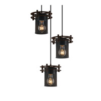 Circa 3 Light 7 inch Dark Bronze Pendant Ceiling Light in Cylinder with Flat Rim