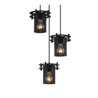 Circa 3 Light 7 inch Matte Black Pendant Ceiling Light in Cylinder with Flat Rim