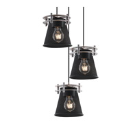 Justice Design Circa 3 Light Pendant in Polished Chrome MSH-8266-50-CROM-BKCD