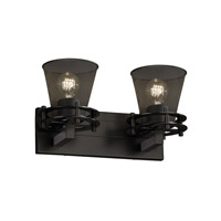 Circa 2 Light 17 inch Matte Black Bath Light Wall Light in Cone