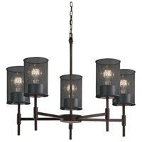 Wire Mesh 5 Light 24 inch Matte Black Chandelier Ceiling Light in Cylinder with Flat Rim