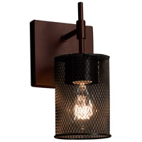 Wire Mesh 1 Light 5 inch Dark Bronze Wall Sconce Wall Light in Cylinder with Flat Rim