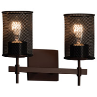 Wire Mesh 2 Light 13 inch Dark Bronze Vanity Light Wall Light in 9.5, Cylinder with Flat Rim
