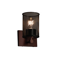 Wire Mesh 1 Light 6 inch Dark Bronze Wall Sconce Wall Light in Cylinder with Flat Rim