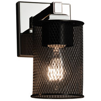 Wire Mesh 1 Light 5 inch Polished Chrome Wall Sconce Wall Light in Cylinder with Flat Rim