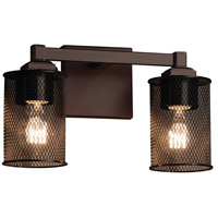 Wire Mesh 2 Light 13 inch Dark Bronze Vanity Light Wall Light in Cylinder with Flat Rim