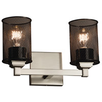 Wire Mesh 2 Light 13 inch Brushed Nickel Vanity Light Wall Light in Cylinder with Flat Rim