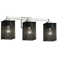 Wire Mesh 3 Light 22 inch Polished Chrome Vanity Light Wall Light in 9, Square with Flat Rim