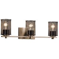 Justice Design MSH-8443-10-BRSS Wire Mesh 3 Light 24 inch Brushed Brass Bath Bar Wall Light Cylinder w/ Flat Rim