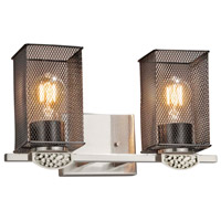 Justice Design MSH-8492-15-NCKL Wire Mesh Malleo 2 Light 15 inch Brushed Nickel Bath Bar Wall Light