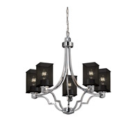 Argyle 5 Light 28 inch Polished Chrome Chandelier Ceiling Light in Square with Flat Rim