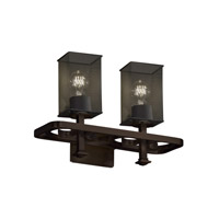 Arcadia 2 Light 18 inch Dark Bronze Bath Light Wall Light in Square with Flat Rim