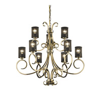 Victoria 9 Light 37 inch Antique Brass Chandelier Ceiling Light in Cylinder with Flat Rim