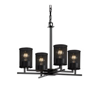 Aero 4 Light 23 inch Matte Black Chandelier Ceiling Light in Cylinder with Flat Rim