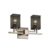 Aero 2 Light 16 inch Brushed Nickel Bath Light Wall Light in Square with Flat Rim