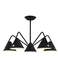 Justice Design NSH-4245-MBTX Zag LED 28 inch Matte Black - Textured Chandelier Ceiling Light