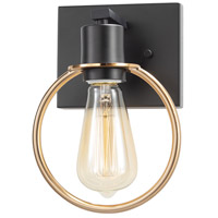 Justice Design NSH-8901-MBBR EVOLV 7 inch Matte Black with Brass Ring Wall Sconce Wall Light in Matte Black / Brass Ring
